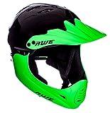 AWE gratis 5 Jahr Crash Ersatz * BMX Full Face Helm schwarz grün groß 58-60 cm