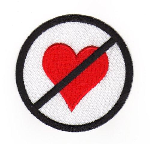 Aufnäher Bügelbild Iron on Patches Applikation Tattoo Herz Verbot Zeichen