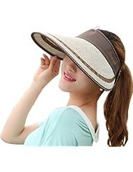Autek capeline Chapeau soleil chapeau d'été femme pliable grande visière
