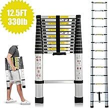Telescópica Escalera multiusos de aluminio 3,8m extensible y plegable capacidad de 12,5kg pies DIY constructor Loft extensión escaleras 13pasos portátil