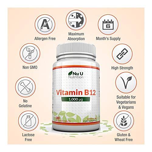 Vitamin B12 Methylcobalamin 1000 mcg – 6-Monats-Versorgung – 180 Tabletten – Nahrungsergänzungsmittel von Nu U Nutrition - 3