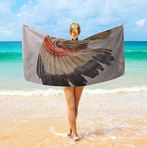 Maskottchen Kostüm Indianer - Ye Hua Indianer Häuptling Kopfschmuck Maskottchen Kostüm Tribal Feather Mikrofaser Badetuch, Hotel & SPA Handtuch - Super weich und saugfähig, fusselfrei, verblassungsbeständig Übergroße Badetuch