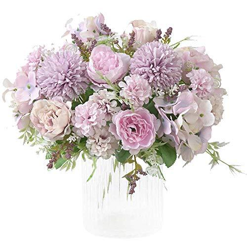 Kirifly - fiori artificiali, peonia e ortensia finta in seta, bouquet di fiori, decorazione realistica, decorazione per matrimoni, centrotavola, confezione da 2 viola chiaro
