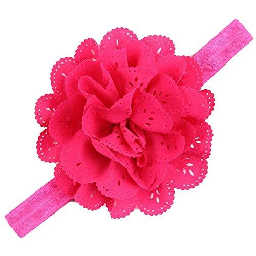Mesh Flower Eyelet Baby Girls Elastic Fushia Pink Headband Kids Head Accessories Hairband Princess Hair Band