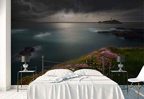 Vlies Fototapete Fotomural - Wandbild - Tapete - Insel Leuchtturm Cliff Blumen Rand Aussicht - Thema Tropical und Inseln - XXL - 416cm x 290cm (BxH) - 4 Teilig - Gedrückt auf 130gsm Vlies - 1X-204684VEXXXXL (Cliff Blumen)