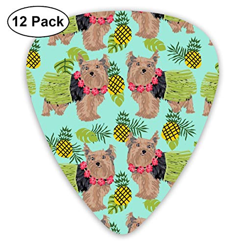 Yorkie Hula Dog - Yorkshire Terrier Dog, Yorkie Hula, Pineapple Hawaii - Mint_1803 Classic Celluloid Picks, 12-Pack, For Electric Guitar, Acoustic Guitar, Mandolin, And Bass - Food Yorkie Dog