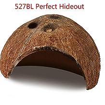 527BL - Casco de Coco Natural ecológico para Acuario de Coco Natural con Bonitos Agujeros para