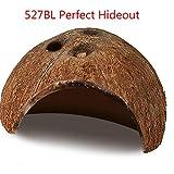 527BL - Casco de Coco Natural ecológico para Acuario de Coco Natural con Bonitos Agujeros para Mascotas, Ideal para la cría de Cuevas y Nido