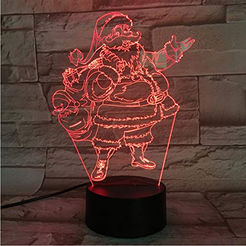 7 colores 3D LED NightLight lámpara de mesa de Santa Claus vacaciones de Navidad Decoración Figuras USB Lamparas luz para niños regalos de Navidad