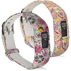 kwmobile2en1: 2 brazalete deportivo para Garmin Vivofit 3 en flores topos multicolor rosa fucsia blanco, Flower Power multicolor rosa fucsia blanco Dimensiones interiores: approx. 14,5 - 19,5 cm - Brazalete de silicona con cierre de reloj sin tracker