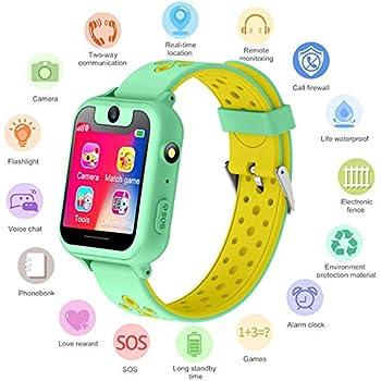 S6 Niños Smartwatch - Reloj de Pulsera Inteligente con ubicación GPS/LBS Reloj Despertador SOS Reloj Digital Cámara Linterna Juegos para niños compatibles ...