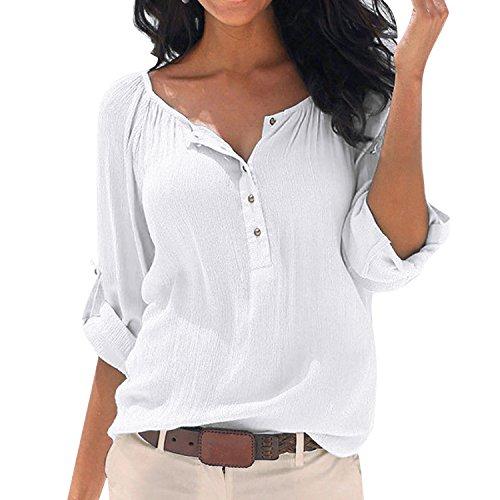 SUNNOW Damen New Mode Langarmshirts V-Ausschnitt Einfarbig Bluse Locker Basic Casual T-Shirt Oberteil (L, Weiß) (Shirt Baumwoll-casual Weiße)