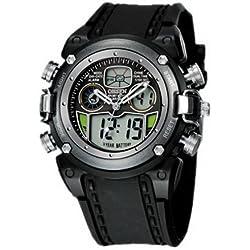 OHSEN YI-AD0721-6 LCD Digital Quartz Sport Mens Analog Alarm Watch Silver