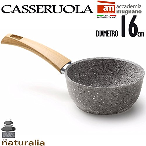 Casseruola in Pietra Antiaderente 16 cm Manico Bakelite Effetto Legno Linea Naturalia Accademia Mugnano