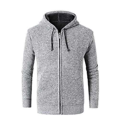 Lihua Herren Pullover Chunky Knit Pullover Funnel Neck Hergestellt aus 100% Baumwolle (Farbe : Weiß, größe : L) Mens Funnel Neck Jacket