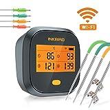 Inkbird WiFi Vleesthermometer BBQ, IBBQ-4T Magnetische Alarm BBQ Thermometer met 4 Probes, 2000mAh Oplaadbare Grillthermometer voor Binnen en Buiten, Keuken, Oven, Roker, Zowel iOS als Android