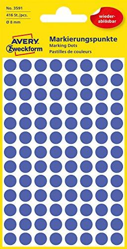 Avery 3591 Círculo Azul 416pieza(s) - Etiqueta autoadhesiva (Azul, Círculo, Papel, 8 mm, 416 pieza(s), 104 pieza(s))
