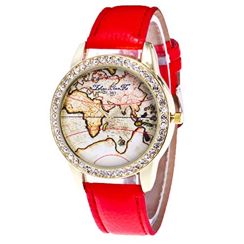 Damen Analog Quarz Uhr mit Leder Armband Armbanduhr Leuchtende Nacht Wasserdicht Quarzwerk rot - Leuchtend Rotes Leder