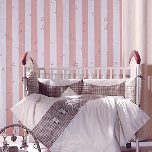 Sisiland Tapeten Selbstklebende Rosa Weiße Streifen für Kinderzimmer Wand Dekoration für Wohnzimmer Schlafzimmer Fernseher Hintergrund