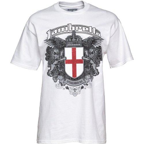 Lambretta Herren-T-Shirt Wappen-Aufdruck, Weiß - S Fit Chest 36-38 (91-96cm) - Ralph Lauren-gerippte Jersey
