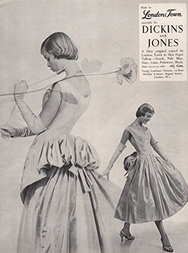 london-town-dickins-jones-dior-shot-paper-taffeta-fashion-advert-1955-old-antique-vintage-print-art-