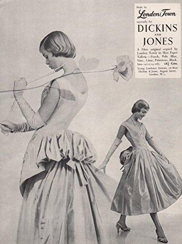 london-town-dickins-jones-dior-shot-paper-taffeta-fashion-advert-1955-old-antique-vintage-print-art-