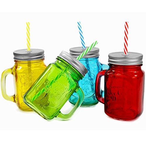 6 Stück Trinkbecher mit Deckel und Strohhalm aus Glas - Trinkglas in Vintage - Retro - Cocktailglas Füllmenge : 450ml / Rot - Grün - Gelb - Blau