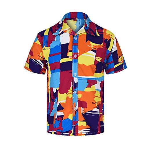 Herren Aloha Camp-shirt (OHQ Herren Hawaii Hemd Kurzarm Flamingos Aloha Party Shirt Palm Beach Shirts)