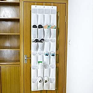 Colleer Portaoggetti con 24 Tasche da Appendere alla Parete Porta Armadio, Ideale Come Organizzatore per Scarpe Biancherie Bianco