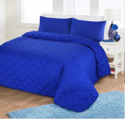 Nimsay Home Soft Plain Colour Quilted Bedspread Throw Embroidered Embossed Coverlet - Royal Blue - 200x200cm