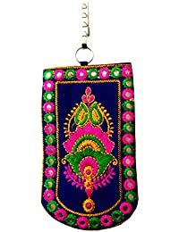 DMS Retail Traditional Mobile Pouch For Women With Waist Clip And Belt Embroidered Mobile Pouch Dark Blue