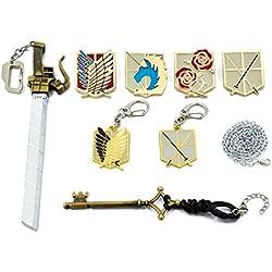 CoolChange caja de colección para joyas de Ataque a los Titanes con 2 llaveros, 4 broches grandes, un llavero en forma de espada y un colgante en forma de llave