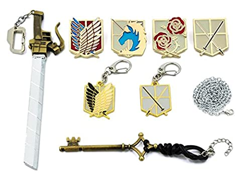 CoolChange boîte de collection de bijoux de Attaque des Titans avec 2 porte-clés, 4 grandes broches, un porte-clés épée et un collier avec pendantif en forme de clé