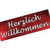 Herzlich Willkommen Spannbanner/Banner/Werbebanner 200 x 70 cm 510g PVC Plane Plakat