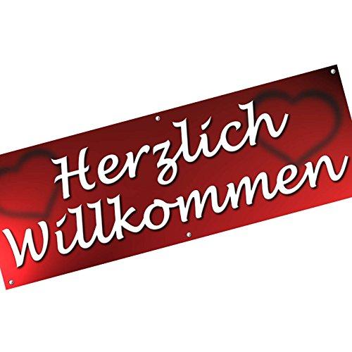 Herzlich Willkommen Spannbanner/Banner / Werbebanner 200 x 70 cm 510g PVC Plane Plakat