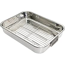 Kitchen Craft - Fuente de horno rectangular con rejilla (acero inoxidable), color plateado