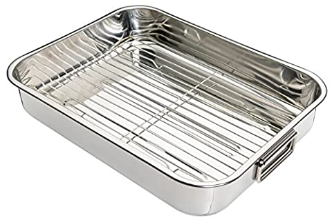 Kitchen Craft Stainless Steel Roasting Pan with Removable Rack, 43 cm - Stainless (Acciaio Inossidabile Rettangolare Pan)