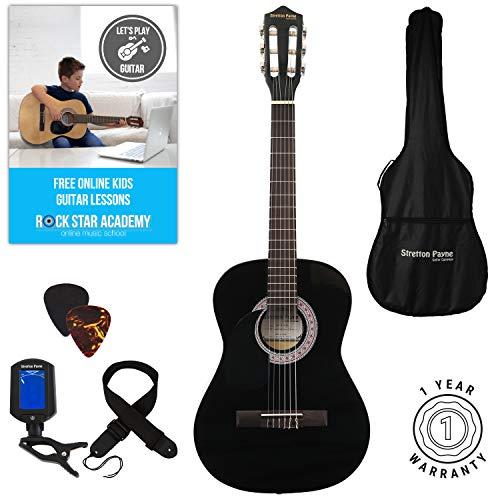 Guitarra acústica de mano izquierda, paquete de 3/4 de tamaño (36 pulgadas), cuerda de nailon clásica para niños, color negro