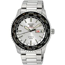 Seiko Men's Automatic Watch with Silver Dial Analogue Display and Silver Stainless Steel Bracelet SRP123