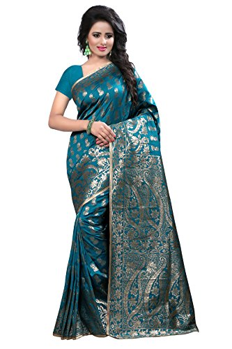 Shree Sanskruti Women's Tussar Silk Saree With Blouse Piece (Banarasi 1005 Rama_Rama...