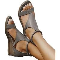 Minetom Frauen Keilabsatz Sandalen Sommer Offene Schuhe Faux Leder Plattform Rom Damen Flip Flops Freizeit Sommerschuhe
