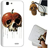 Rockconcept Huawei Ascend G7 Funda, Serie del cráneo Diseño [Con Gratis Tapón de Polvo] Protectiva Carcasa de Silicona Gel TPU Funda Cover Carcasa Case Cover para Huawei Ascend G7 (Cráneo de la manzana)