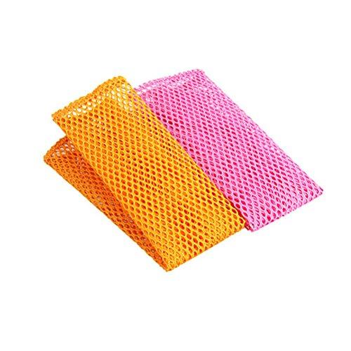 BESTONZON 8PCS Innovative Geschirrspül-Netztücher schnell trocknend Inodore Mesh Waschlappen Küche Reinigungstücher - Gelb + Pink (Mesh-waschlappen)