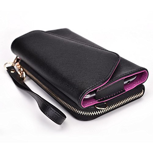 Kroo d'embrayage portefeuille avec dragonne et sangle bandoulière pour Samsung Galaxy Grand Prime Black and Orange Black and Violet