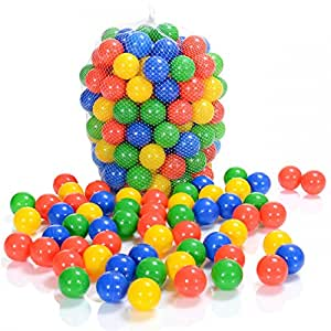 100 Pièces Balles Colorées Plastique de Piscine Enfants et Bébé de 1 mois d'âge (selon TÜV Rheinland Test Report mars 2019)