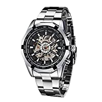 WINNER Fashion Semi-Automatic Mechanical Watch Skeleton See-through Dial Hand-winding Top Luxury Brand Men Wristwatch