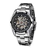 Winner Herren Armbanduhr Edelstahl Skelett Uhren Mechanische Armbanduhr Analog-Digital Herren Uhr