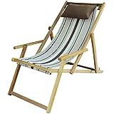OAK N' OAK Hardwood Relaxing Reclining Easy Chair (40 x 24 x 36 Inches, Stripe)
