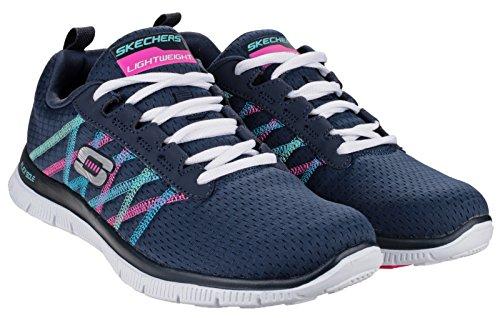 Skechers Flex Appeal Something Fun, Chaussures de sports en salle femme Bleu - Navy/Multi