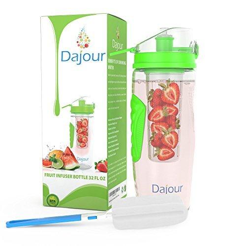 Fruit-Ei Wasser Flasche 32Unze ohne BPA Sport Geschmack Infusion Flasche–Plus Rezept eBook und Reinigungsbürste im lieferumfang enthalten